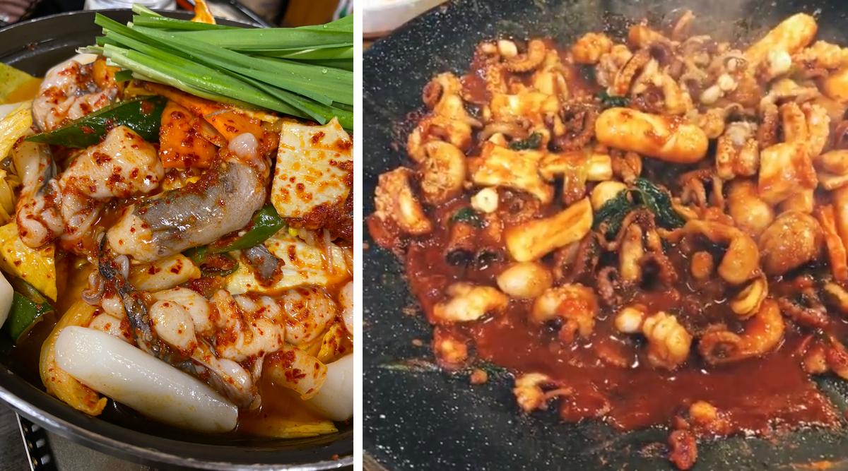 チュクミ(左:調理前/右:調理後)「辛いもの食べに新大久保へ。お酒とも合います」
