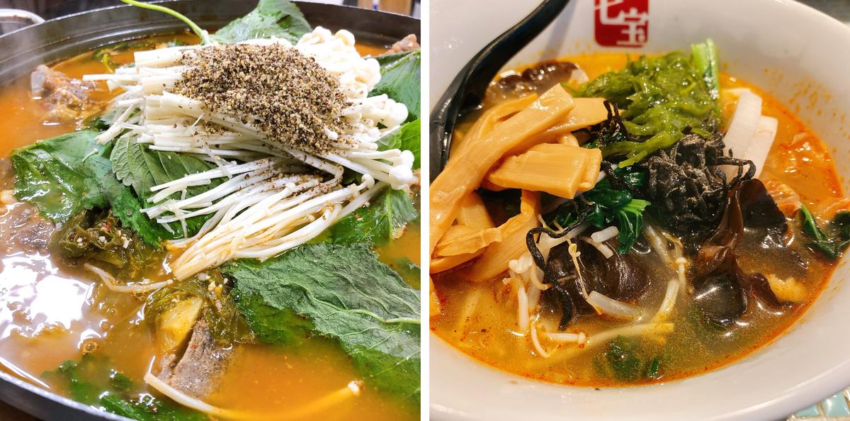 (左)「韓国旅行で食べたカムジャタン。おなべはよく食べます」(右)「マーラータン。辛さも調節でき、麺もヘルシーなので罪悪感なく食べられます」