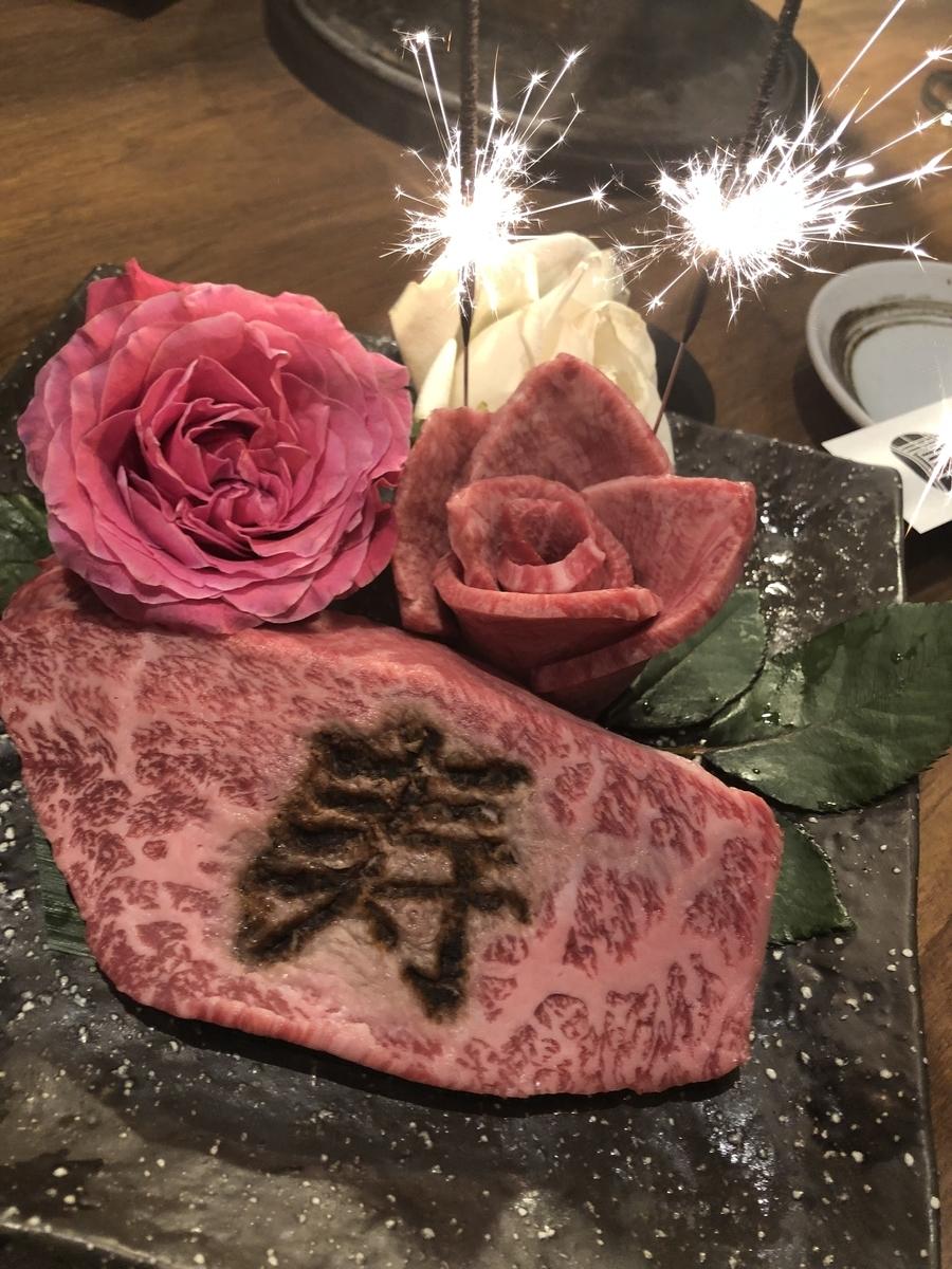 友達の誕生日を「寿」の焼き印入りステーキでお祝い