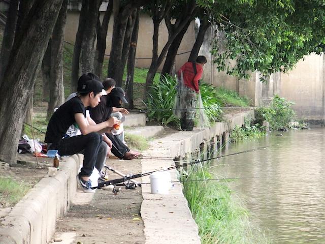 チェンマイ ピン川 釣り人
