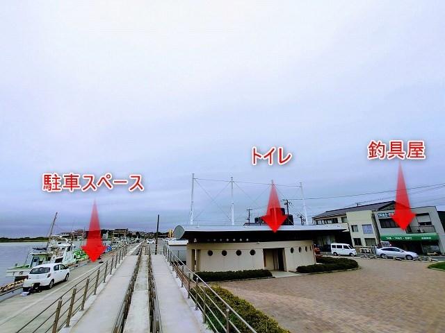 那珂湊港のトイレ、釣具、駐車スペース