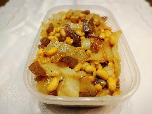大豆と玉ねぎのゆず塩炒め