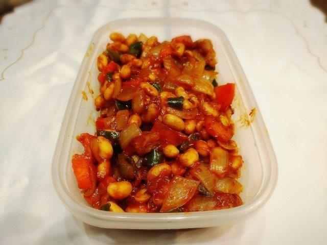 大豆とケチャップソース炒め