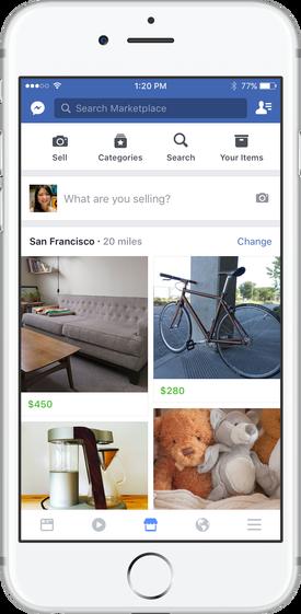 Facebookアプリ内のマーケットプレイス