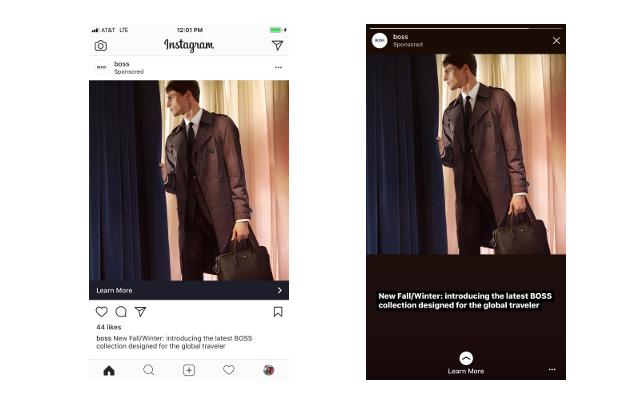 Instagramフィード用画像の自動調整とキャプション表示によるフルスクリーンのストーリーズ広告