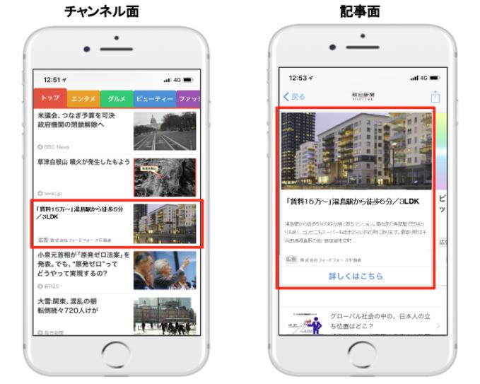 SmartNewsダイナミック広告の配信面と掲載イメージ