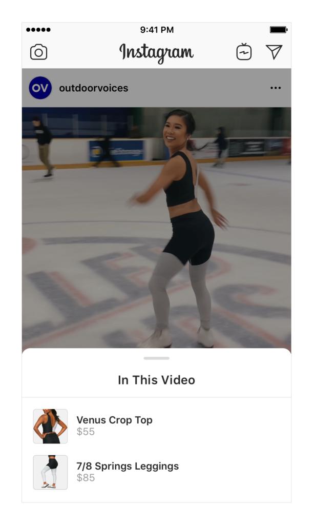 Instagram 動画投稿でのショッピング機能