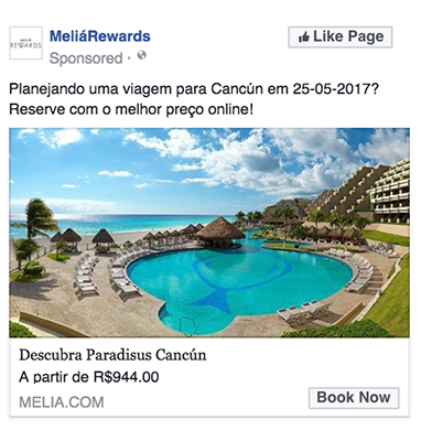 旅行業界向けダイナミック広告例1(Melia Hotels International)