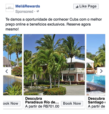 旅行業界向けダイナミック広告例2(Melia Hotels International)