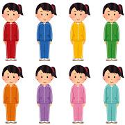 色とりどりのジャージを着た女性たち