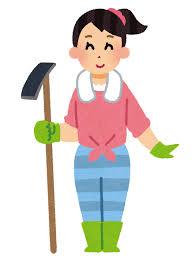 農工具を持った女性