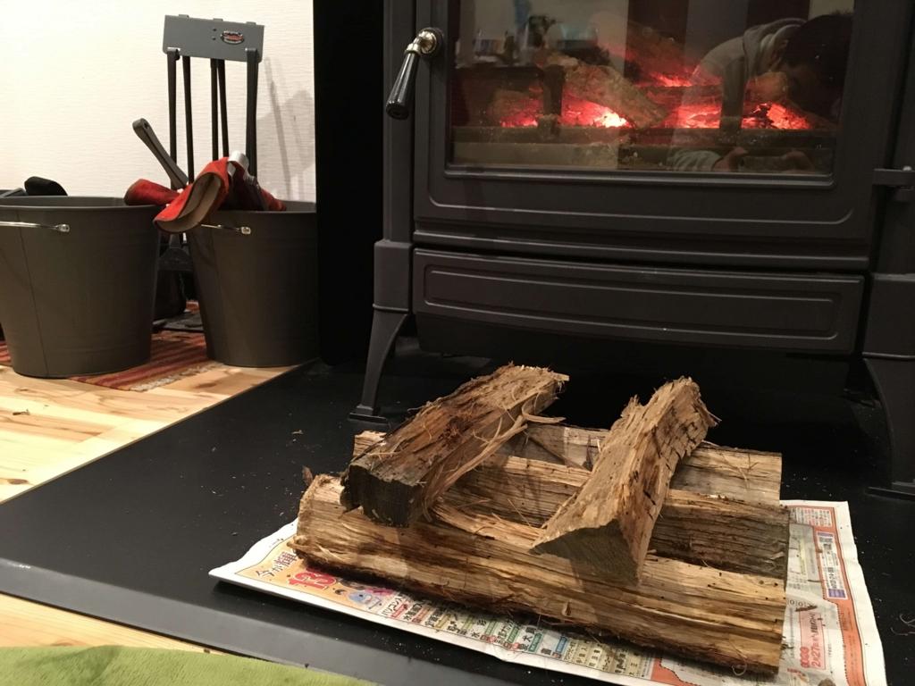 薪ストーブで薪の強制乾燥