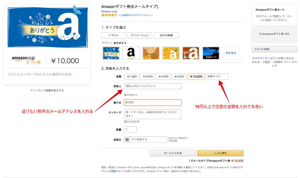 アマゾンギフトカード(Eメールタイプ)の購入画面