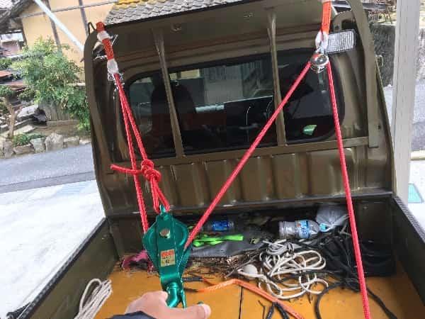 軽トラ3倍力手動ロープウインチシステムの完成