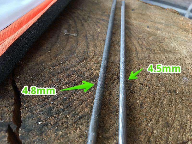 チェンソーヤスリ4.8mmと4.5mm