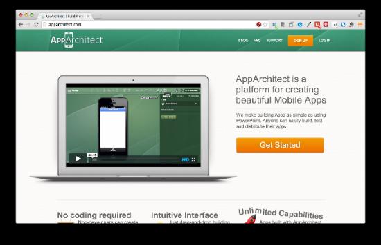 AppArchitect ドラッグ&ドロップでUIを制作してモバイルアプリを開発できます。PowerPoint並の手軽さで、というのがウリです。