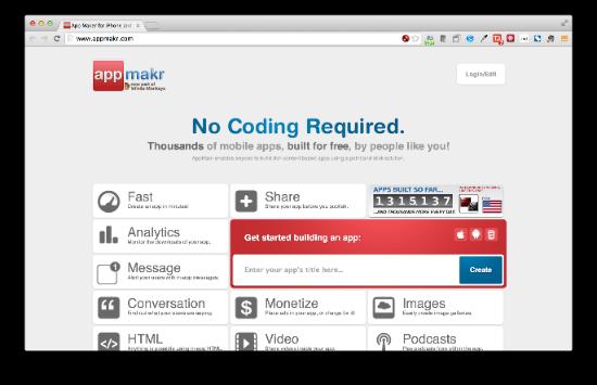 AppMakr 既に数千の実績があるモバイルアプリ開発プラットフォームだそうです。アナリティクスやマネタイズなど周辺機能も充実しています。