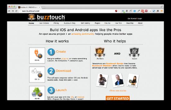 Buzztouch プラグインも多数提供されており、より高度なiOS/AndroidアプリがWebブラウザ上だけで作成できるようになっています。