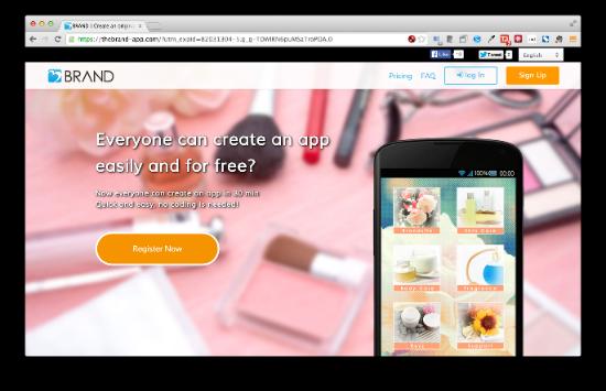 BRAND テンプレートを選んでいくだけ、4ステップでアプリが作成できてしまうサービスです。小さなショップ向けのアプリが作成できます。