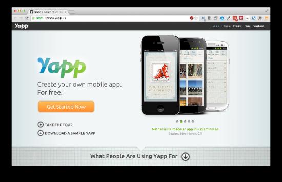 Yapp カンファレンス、スポーツチーム、バースデーなどイベント系アプリを作るのに適したサービスです。