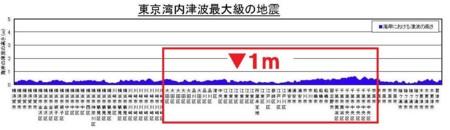 東京湾内津波最大級の地震(グラフ)
