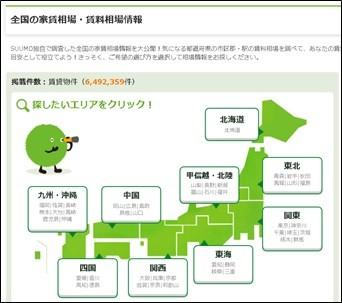 SUUMOの「全国の家賃相場・賃料相場情報」