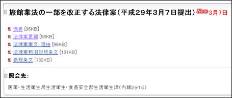 旅館業法の一部を改正する法律案(平成29年3月7日提出)