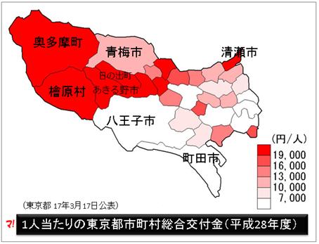 1人当たりの東京都市町村別交付額マップ(平成28年度)