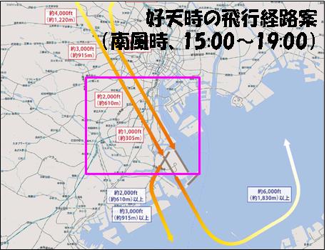 好天時の飛行経路案(南風時、15:00~19:00)