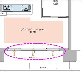 窓のサッシが二重の線で描かれている