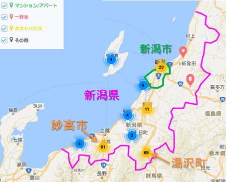 新潟県内のAirbnb登録物件の分布
