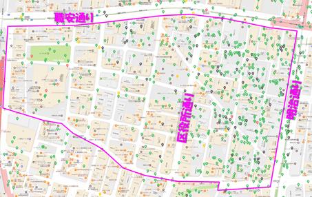 Airbnb登録物件の分布図(歌舞伎町二丁目)