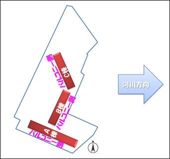 チラシに掲載された配置図(方位修正)