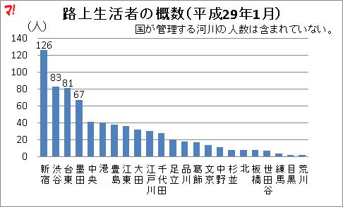 路上生活者の概数(平成29年1月)
