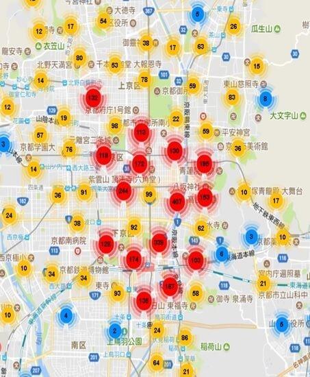 京都市内のAirbnb登録物件の分布図
