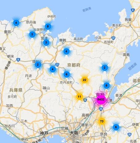 京都府内のAirbnb登録物件の分布図
