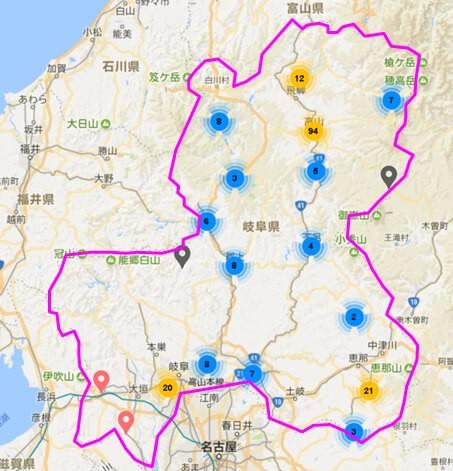 岐阜県内のAirbnb登録物件の分布図