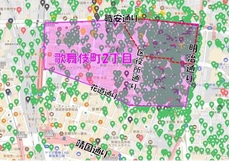 歌舞伎町二丁目Airbnb登録物件の分布図