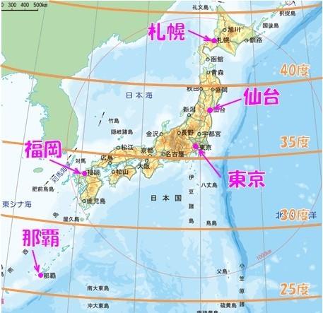 各都市の緯度の違い(地図)