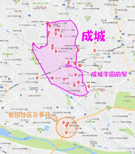 マンション名に「成城」が含まれる物件の分布図