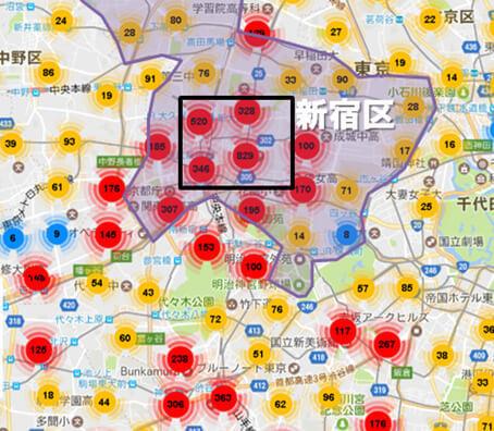 新宿区内のAirbnbの登録物件の分布