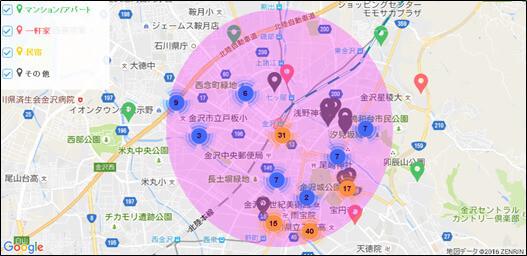 石川県内のAirbnb登録物件の分布