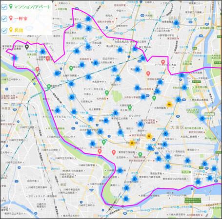 大田区内のAirbnb登録物件の分布