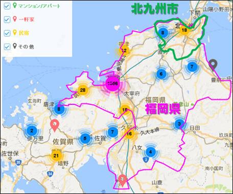 福岡県内のAirbnb登録物件の分布