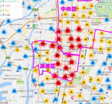 大阪市内のAirbnb登録物件の分布
