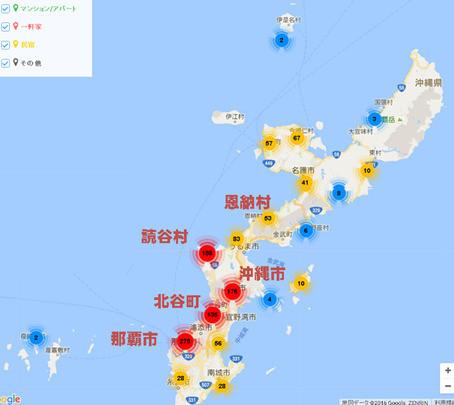 沖縄県内のAirbnb登録物件の分布