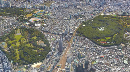 新宿御苑(左)・明治神宮(右)高度900m(3,000ft)