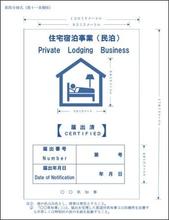 第四号様式(標識の掲示)住宅宿泊事業