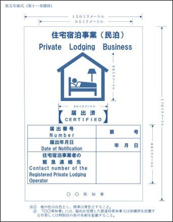 第五号様式(標識の掲示)住宅宿泊事業