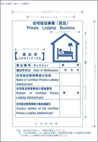 第六号様式(標識の掲示)住宅宿泊事業